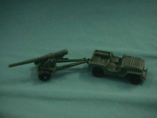 Marx American WWII Jeep and Gun (ORIGINAL) (Dark GREEN) (54mm)