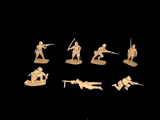 Japanese 14 figures in 7 poses (tan)   <font color=#CC0000>(54mm) </FONT>