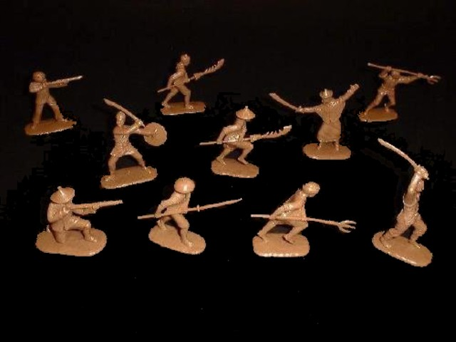 Chinese Boxers --- Chinese Boxer Rebellion of 1900  20 figures in 10 poses (tan) (5413H) <FONT COLOR=#CC0000>(54mm) </FONT>