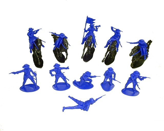 Western Cavalry 6 mounted 6 afoot (blue) w/6  horses  (brown) <font color=#CC0000>(54mm) </FONT>