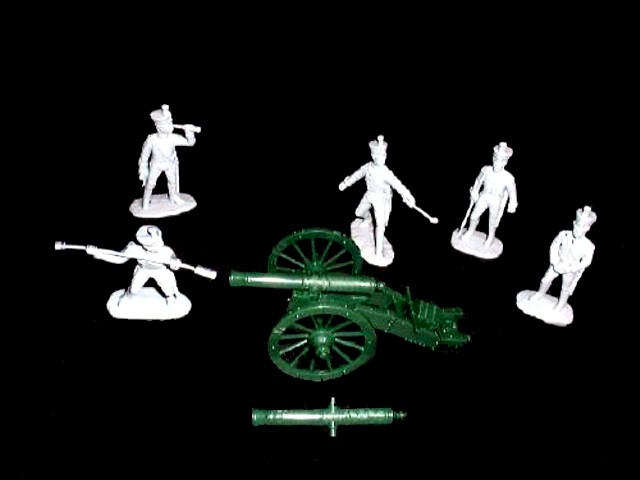 Napoleonic War French Line Foot Artillery 5 figures in 5 poses (dark blue) and cannon (5429)  <font color=#CC0000>(54mm) </FONT>