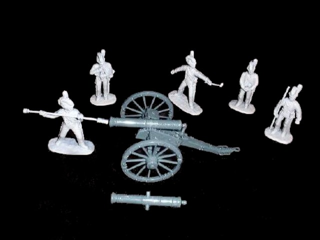 British Royal Horse Artillery 5 figures in 5 poses  (dark blue) and cannon (5432)  <font color=#CC0000>(54mm) </FONT>