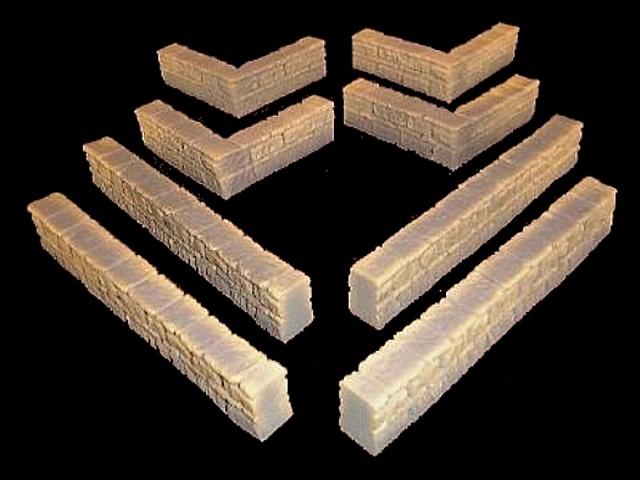 Flat Stone Wall (8) pieces L8''x D1''x H1.5''  <font color=#CC0000>(54mm) </FONT>