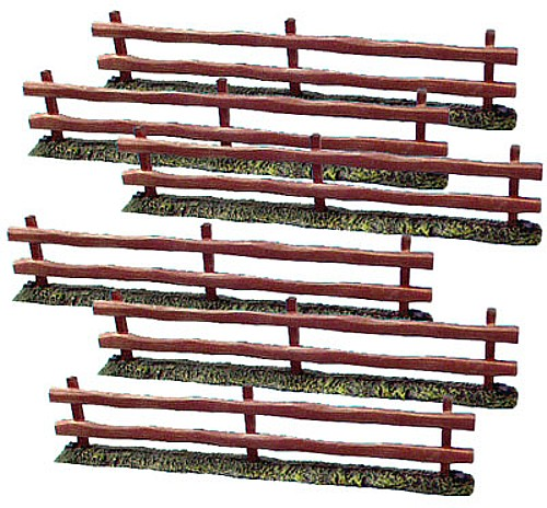 Wood Fence (6 sections) (painted)  (5201) <FONT COLOR=#CC0000>(54mm) </FONT>