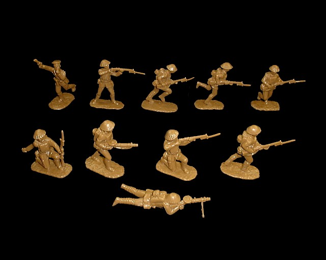 WWI British Infantry 20 figures in 10 poses (brown)  (5406) <font color=#CC0000>(54mm) </FONT>