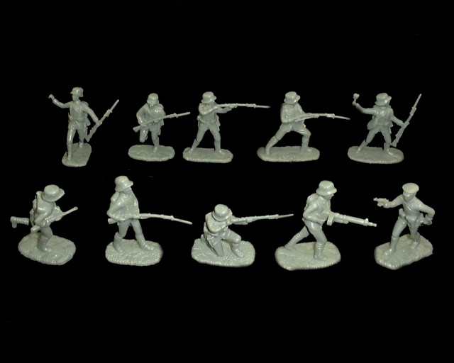 WWI German Infantry 20 figures in 10 poses (gray) (5402)  <font color=#CC0000>(54mm) </FONT>