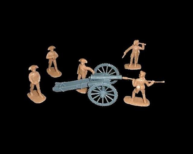 Militia Artillery 5 figures in 5 poses w/6 pound cannon (tan)  (5480) <FONT COLOR=#CC0000>(54mm) </FONT>