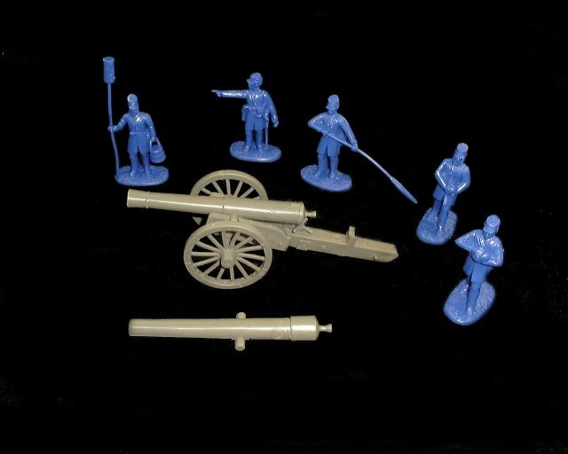 Union  24 pound Cannon w/5 figures in 5  poses (blue) (5499) <FONT COLOR=#CC0000>(54mm) </FONT>