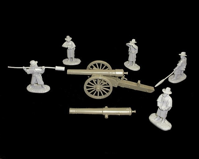 Confederate  30 pound Parrot Rifle w/5 figures in 5  poses (gray) (5502) <FONT COLOR=#CC0000>(54mm) </FONT>