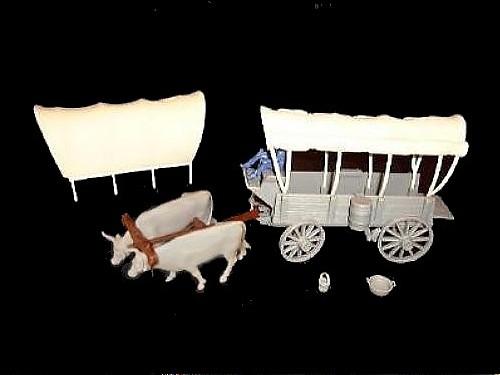 Ox Drawn Conestoga Wagon (brown) w/2 different (gray) tops <font color=#CC0000>(54mm) </FONT>