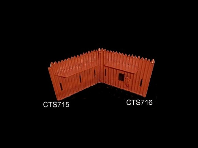 Fort Stockade wall w/rampart and hinged cannon port (compatible with Marx Ft. Apache walls) 2 for (red brown)  <font color=#CC0000>(54mm) </FONT>