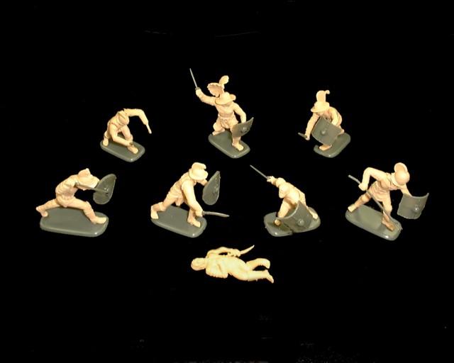 Gladiators set #1 10 figures in 10 poses (tan) (3201)  <FONT COLOR=#CC0000>(54mm) </FONT>