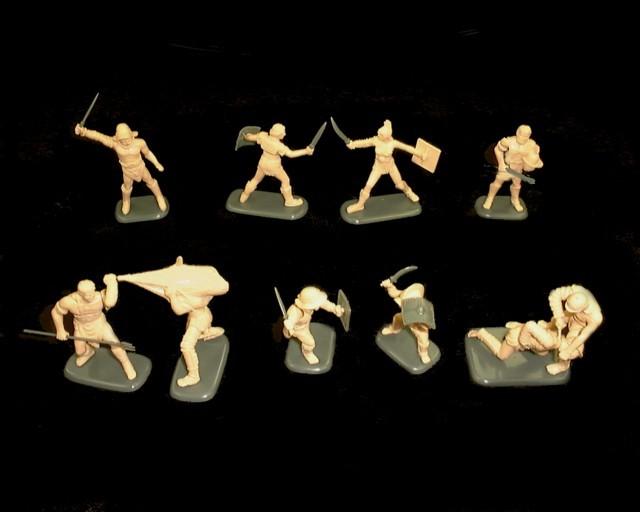 Gladiators set #2 10 figures in 10 poses (tan) (3202) <FONT COLOR=#CC0000>(54mm) </FONT>