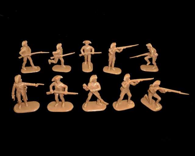 Colonial Militia Infantry 20 figures in 10 poses (brown) (5463)<font color=#CC0000>(54mm) </FONT>