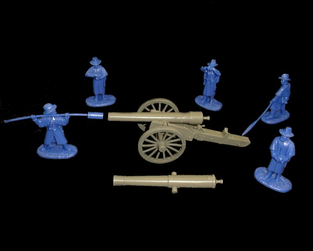 Union  30 pound Parrot Rifle w/5 figures in 5  poses (blue) (5505) <FONT COLOR=#CC0000>(54mm) </FONT>