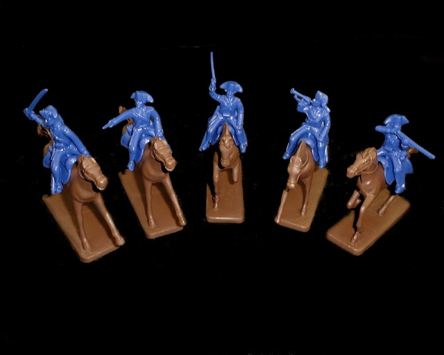 Colonial Cavalry 5 figures in 5 poses w/5 horses (blue) (5469) <FONT COLOR=#CC0000>(54mm) </FONT>