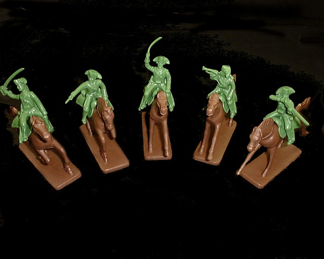 Loyalist Cavalry 5 figures in 5 poses w/5 horses  (green) (5472) <FONT COLOR=#CC0000>(54mm) </FONT>