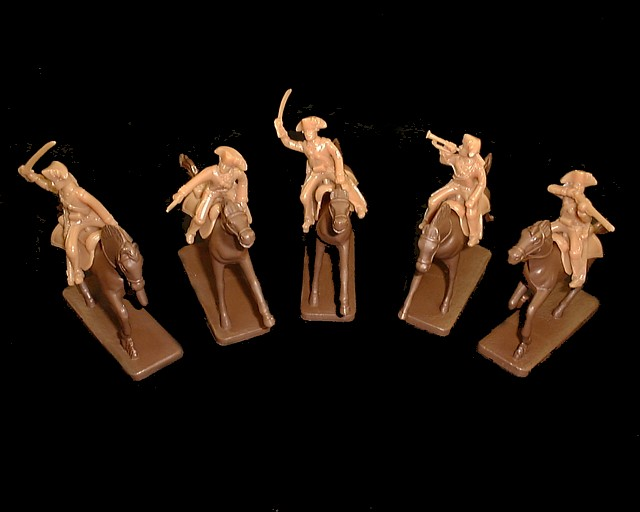 Militia Cavalry 5 figures in 5 poses w/5 horses  (brown) (5468) <FONT COLOR=#CC0000>(54mm) </FONT>