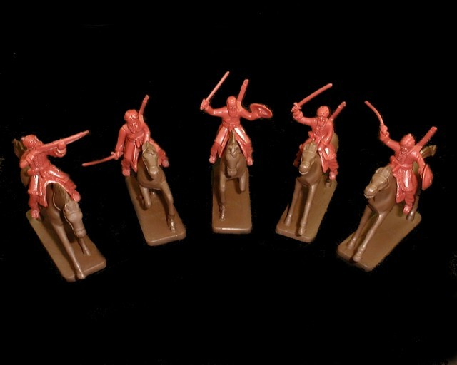 Mounted Afghan Tribesmen 5 figures in 5 poses w/5 horses (red brown) (5489A) <FONT COLOR=#CC0000>(54mm) </FONT>