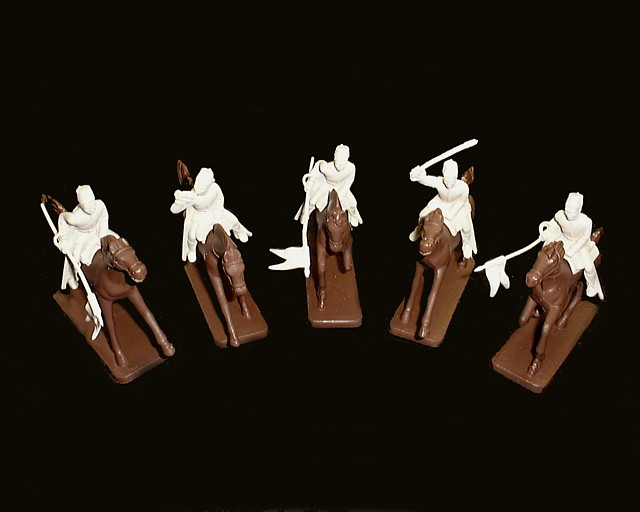 Egyptian Lancers 5 figures in 5 poses w/5 horses (white) (5488)  <FONT COLOR=#CC0000>(54mm) </FONT>