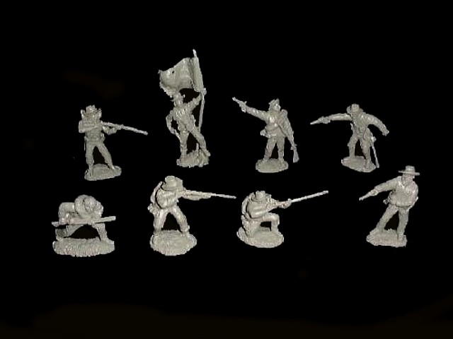 Confederate Infantry 16 figures in 8 poses (gray)<font color=#CC0000> (54mm) </FONT>