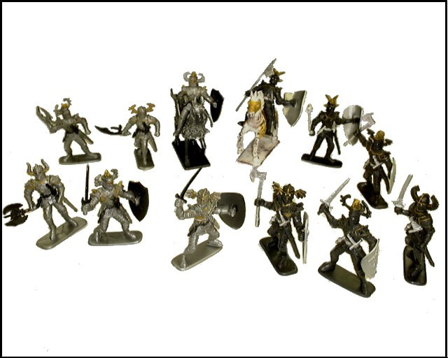 Knights 12  figures in 12 poses w/2 horses (painted) <FONT COLOR=#CC0000>(60mm) </FONT>