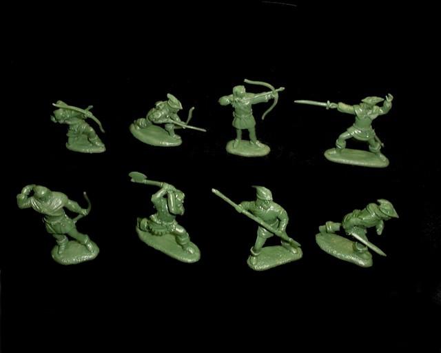 Robin Hood Merrymen 16 figures in 8 poses 60MM (GREEN)<FONT COLOR=#CC0000>(54mm) </FONT>