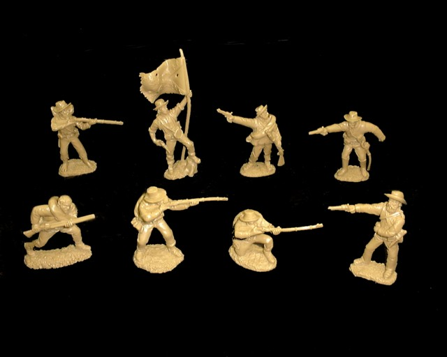 Confederate Infantry 16 figures in 8 poses (butternut)  <font color=#CC0000>(54mm) </FONT>