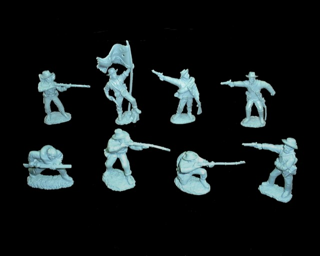 Confederate Infantry 16 figures in 8 poses (light blue)  <font color=#CC0000>(54mm) </FONT>