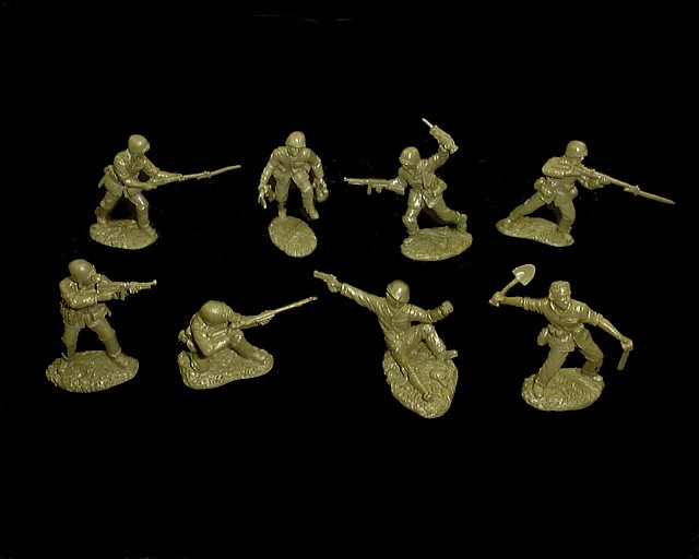 Marines 16 figures in 8 poses (od green) <FONT COLOR=#CC0000>(54mm) </FONT>
