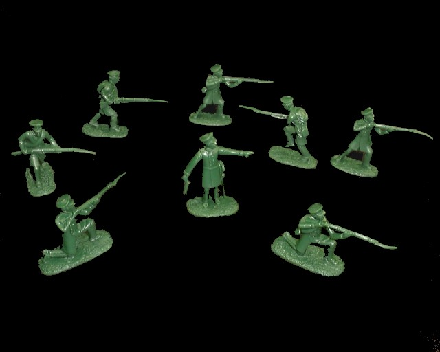 Russian Infantry  20 figures in 8 poses (green) (5523) <FONT COLOR=#CC0000>(54mm) </FONT>