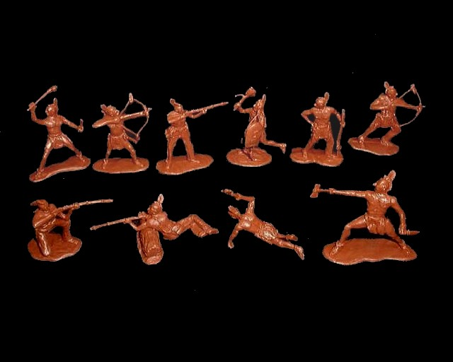 Mohawk Indians 12 figures in 10 poses (red brown)  <font color=#CC0000>(54mm) </FONT>