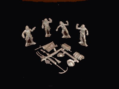 Pirates 4 figures in 4 poses w/10 weapon accessories (silver) <FONT COLOR=#CC0000>(54mm) </FONT>