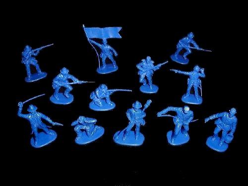 Confederate Artillery 12 figures in 12  poses ( medium-blue) (702D)    <font color=#CC0000>(54mm) </FONT>