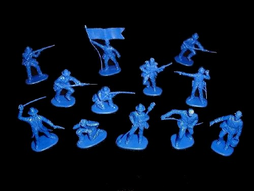 Confederate Infantry and Artillerymen 12 figures in 12 poses (re- marx blue) (702D) <FONT COLOR=#CC0000>(54mm) </FONT>