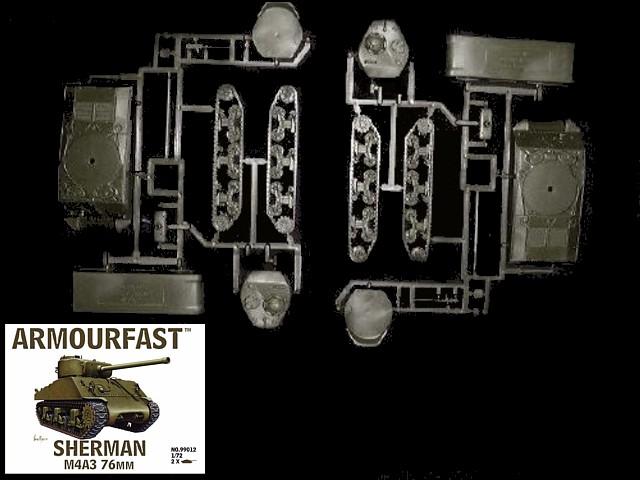 American Sherman Tank M4A3 w/76mm gun  (x2)  (99012) <font color=#CC0000>(25mm) </FONT>