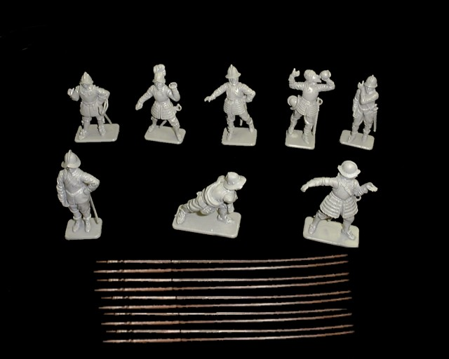 Pikemen 20 figures in 8 poses (gray) w/10 pikes (series 2) <font color=#CC0000>(54mm) </FONT>
