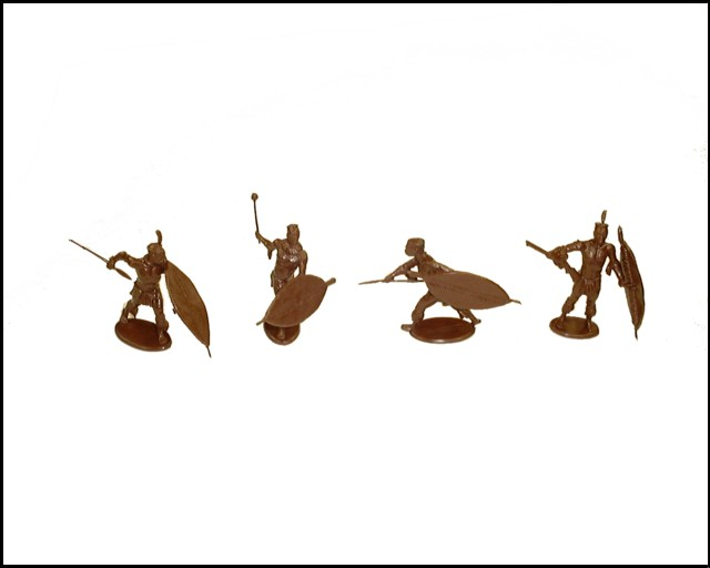 Zulu Warriors at Rorke's Drift 16 figures in 4 poses  (brown)  (series 6) <font color=#CC0000>(54mm) </FONT>