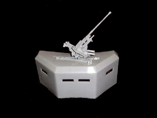 Concrete Bunker w/AA gun (gray)  <font color=#CC0000>(54mm) </FONT>