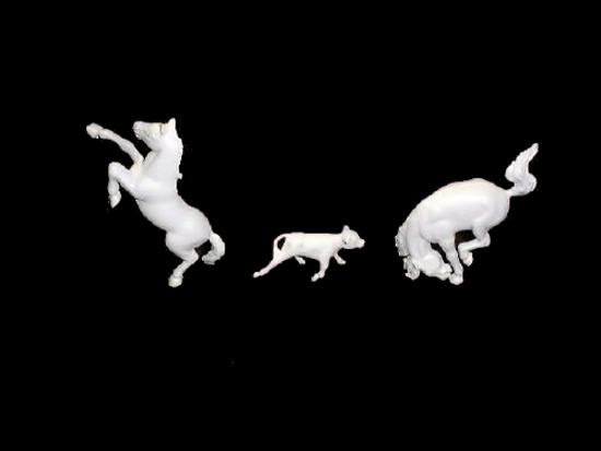 Ranch Horses and calf 5 in 3 poses  (white)  <font color=#CC0000>(60mm) </FONT>