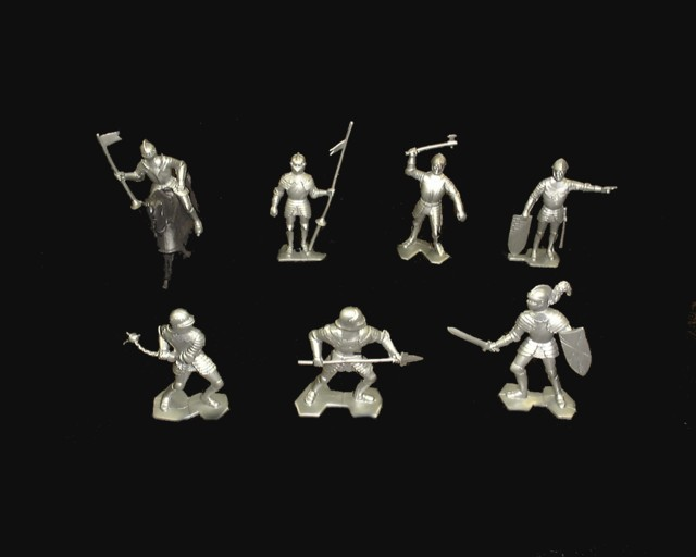 Knights (2nd series) 21 figures in 7 poses w/2 horses (silver)  <font color=#CC0000>(54mm) </FONT>