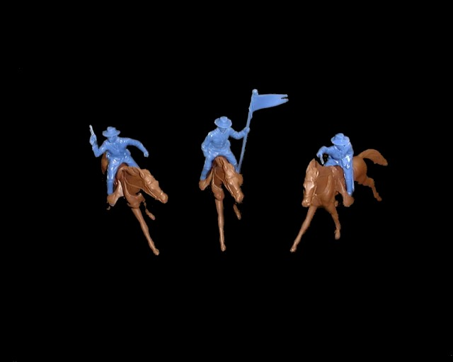 Long Coat Cavalry 6 mounted figures in 3 poses (blue) w/6 horses <FONT COLOR=#CC0000>(54mm) </FONT>
