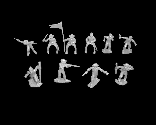 Cavalry/Frontiersmen 25 figures in 10 poses (gray) <font color=#CC0000>(45mm) </FONT>