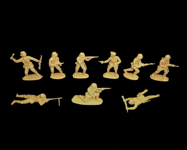Germans 15 figures in 9 poses (tan)  <font color=#CC0000>(54mm) </FONT>