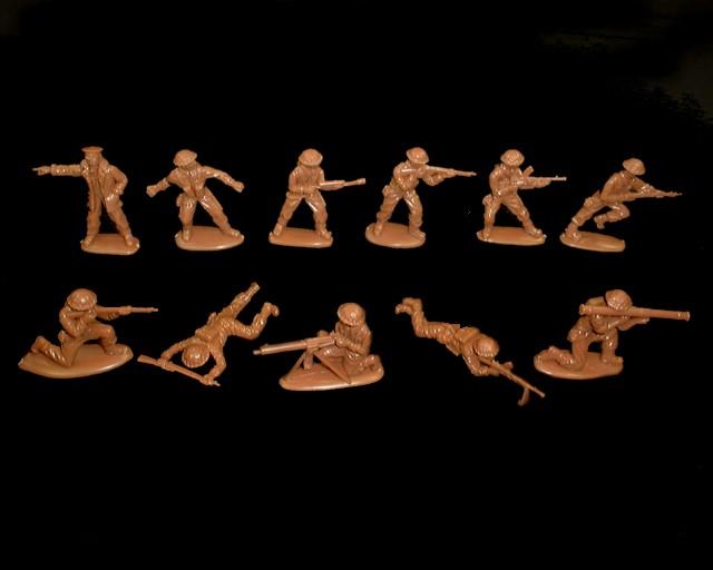 British Infantry 15 figures in 11 poses (brown)  <font color=#CC0000>(54mm) </FONT>