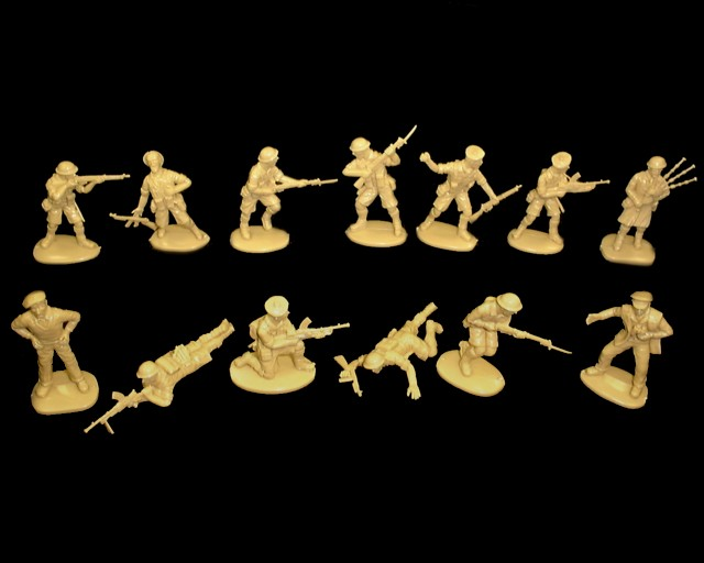 British 8th Army 15 figures in 13 poses (tan)  <font color=#CC0000>(54mm) </FONT>