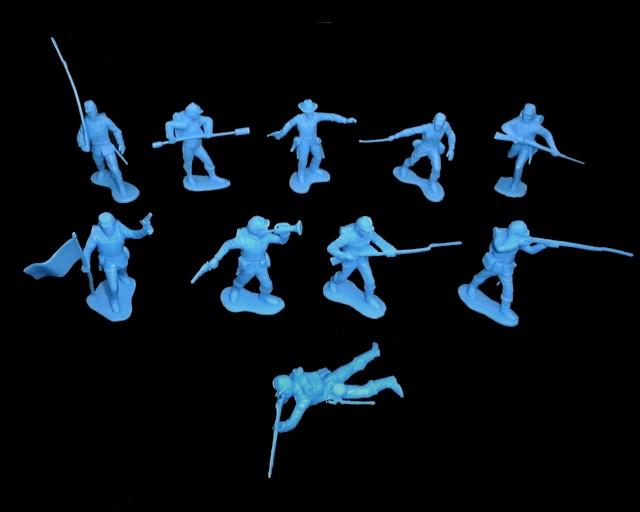 Union Infantry  22 figures in 10 poses (medium blue)   <font color=#CC0000>(54mm) </FONT>