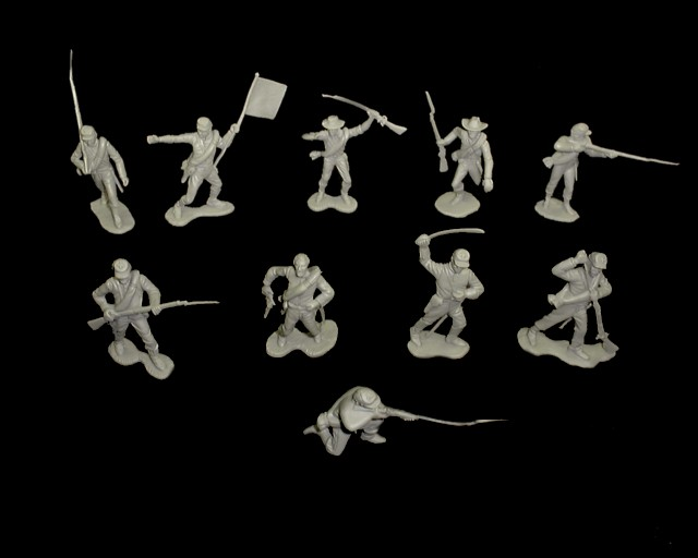 Confederate Infantry 1st issue 22 figures in 10 poses (gray) <font color=#CC0000>(54mm) </FONT>