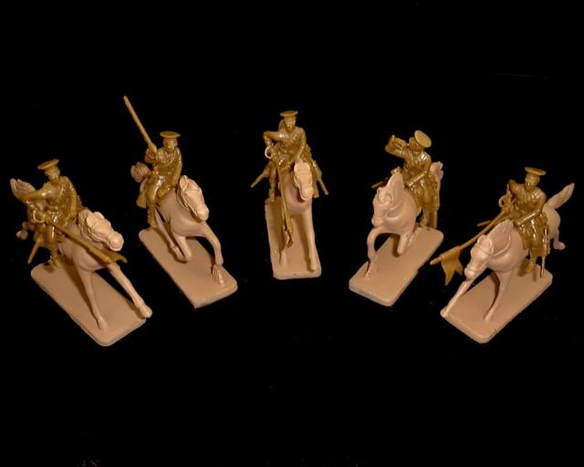 WWI British Lancers 5 figures in 3 poses w/horses (khaki) (5539) <FONT COLOR=#CC0000>(54mm) </FONT>