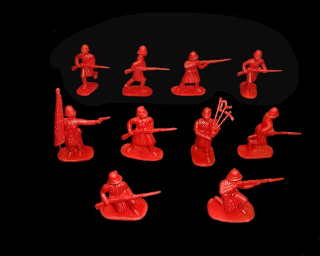 British Highlanders  (1880�s) 20 figures in 10 poses (red)  (5416) <FONT COLOR=#CC0000>(54mm) </FONT>